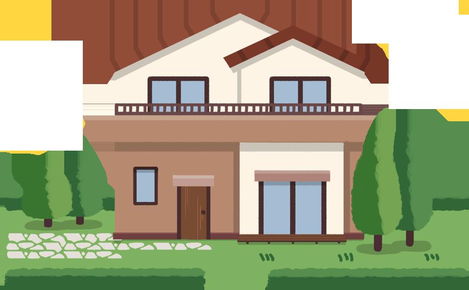 住宅の外観と玄関